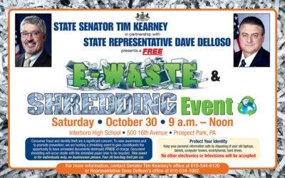 Senator Kearney, Rep. Delloso to Host Free E-Waste & Shredding Event on Oct. 30